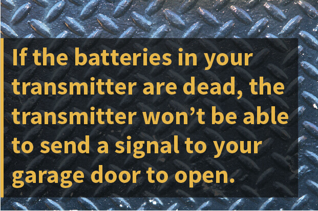 If the batteries in your transmitter are dead, the transmitter won't be able to send a signal to your garage door to open.