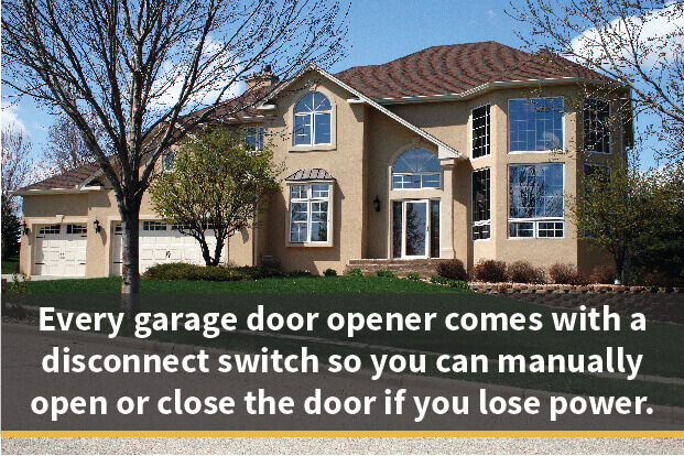 Every garage door opener comes with a disconnect switch so you can manually open or close the door if you lose power.